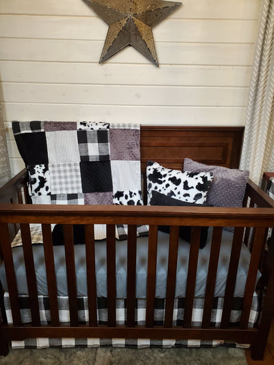 Ready to Ship Neutral Crib Bedding -  Farmhouse with Black White Cow Minky