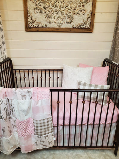 Quick Ship Girl Crib Bedding- Deer and Check Woodland Collection