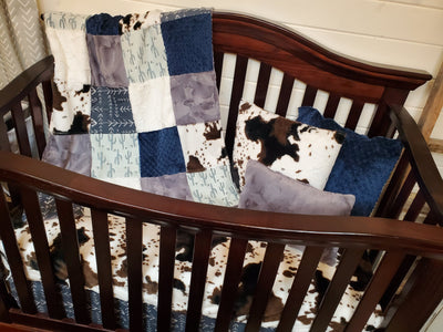 Ready to Ship Boy Crib Bedding - Valley Cactus and Cow Minky Ranch Collection