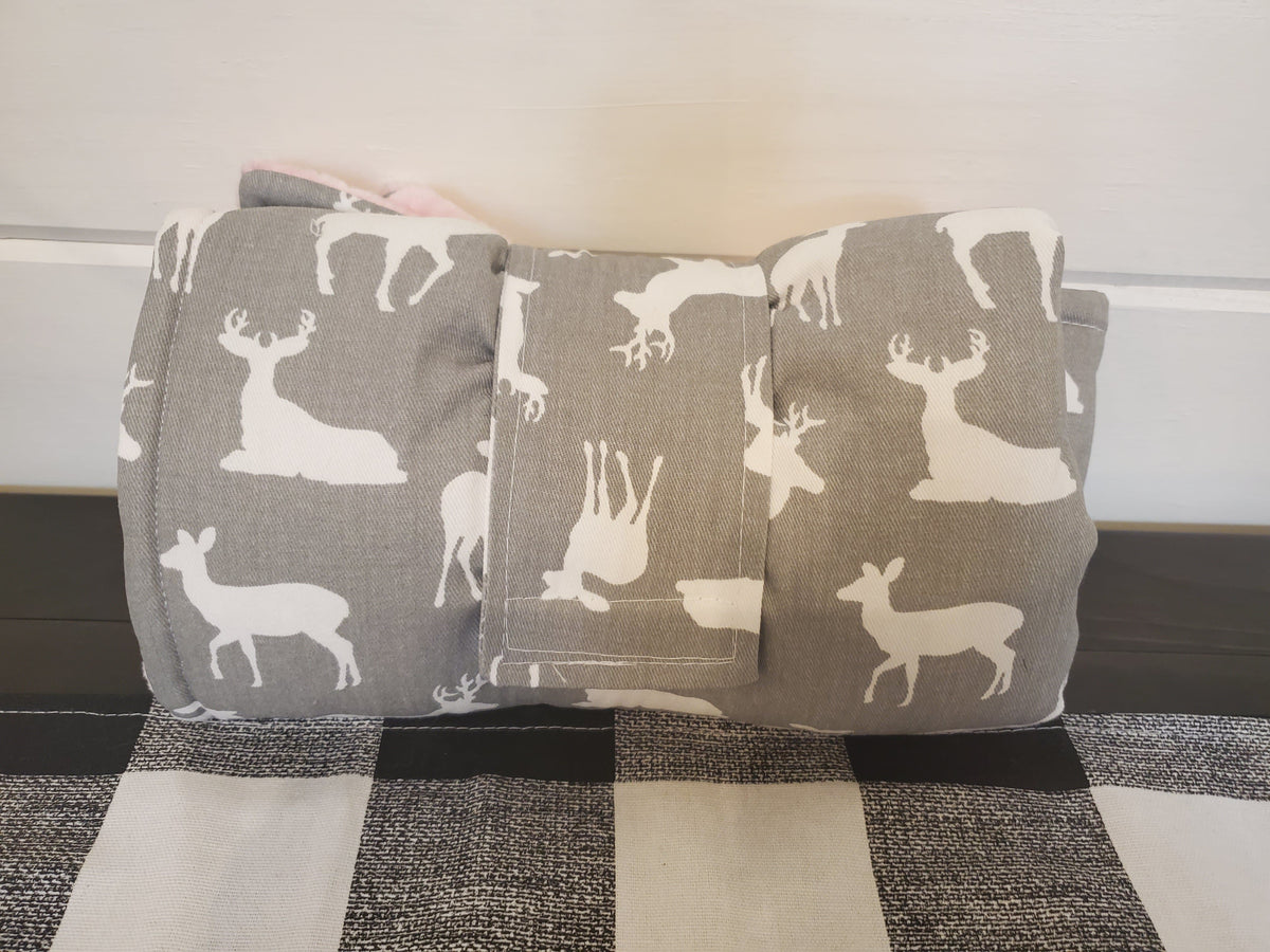 On the Go Changing Pad- Gray Deer with gray minky interior