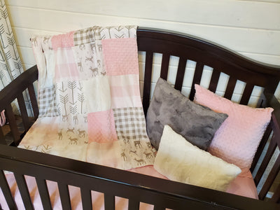 Ready to Ship Girl Crib Bedding - Fawn Woodland Collection