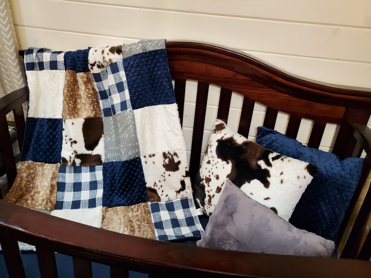 Ready to Ship Boy Crib Bedding - Farmhouse, Fawn minky, and Cow minky