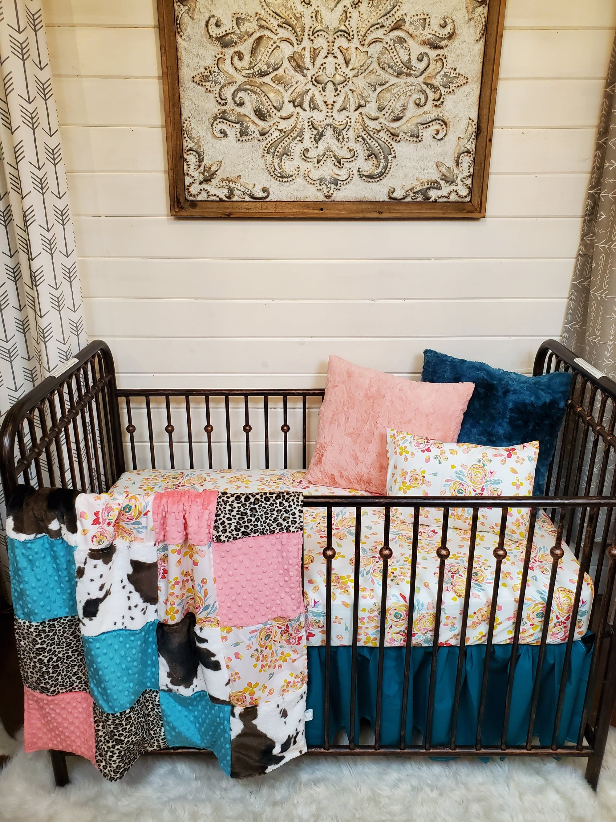 Ready to Ship Girl Crib Bedding - Floral, Cheetah, and Cow Minky Collection