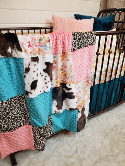 Ready to Ship Girl Crib Bedding - Rose, Cheetah, and Cow