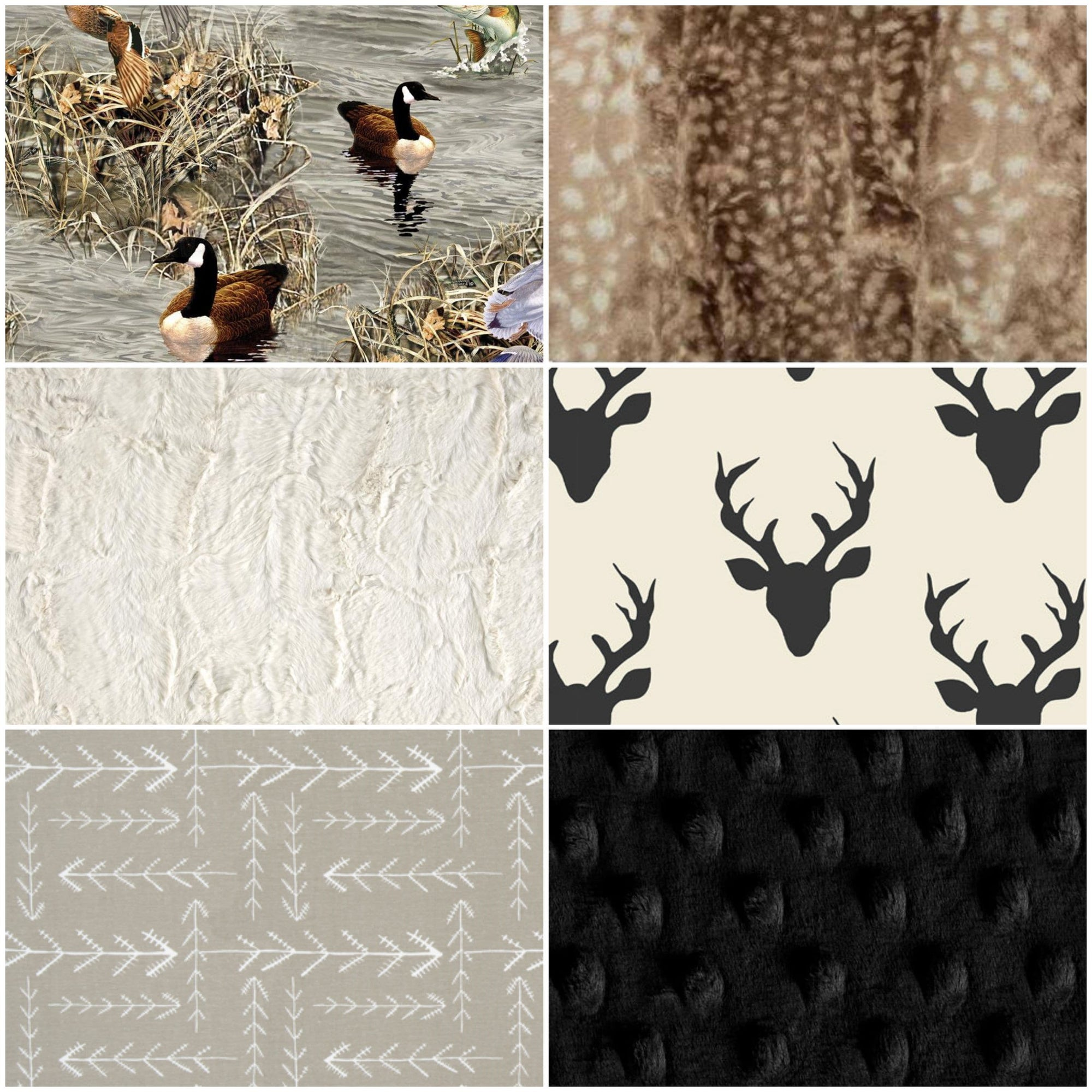 Ready to Ship Boy Crib Bedding - Buck, Arrow, Ducks, Fawn Minky, Hunting and Duck Collection