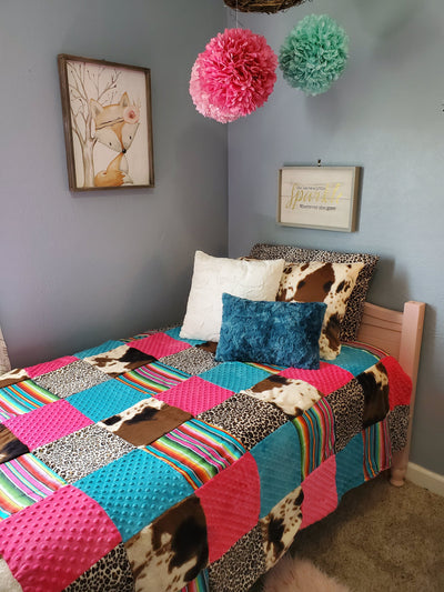Twin, Full, or Queen Patchwork Blanket - Serape, Cheetah, and Cow