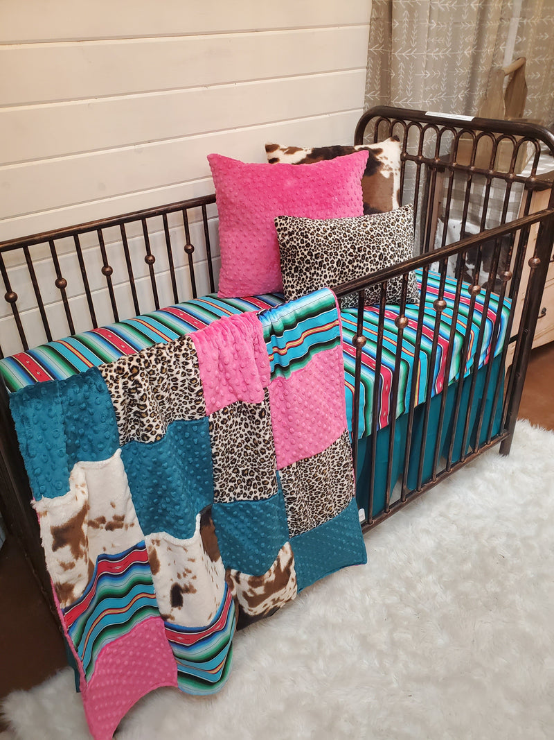 Ready to Ship Girl Crib Bedding- Fiesta Serape, Cheetah, and Cow Minky Collection