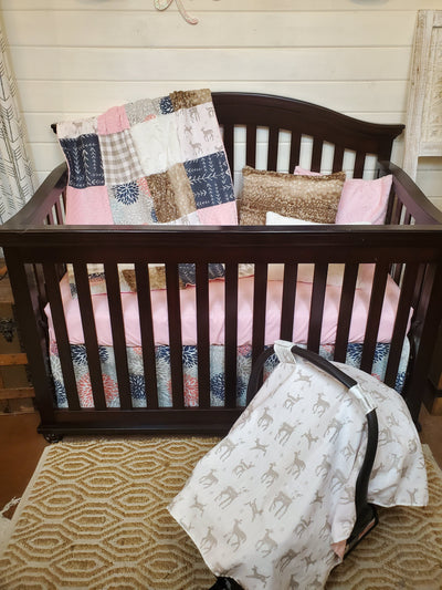 Ready to Ship Girl Crib Bedding- Sweet Baby Fawn and Floral Woodland Collection