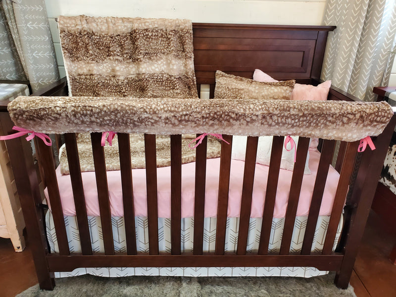 Ready to Ship Neutral Crib Bedding - Fawn Minky and Arrow