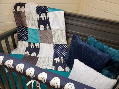 Ready to Ship Boy Crib Bedding - Navy Elephant and Teal