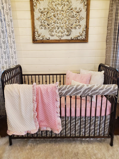 Ready to Ship Girl Crib Bedding- Taupe Zebra and Blush Collection