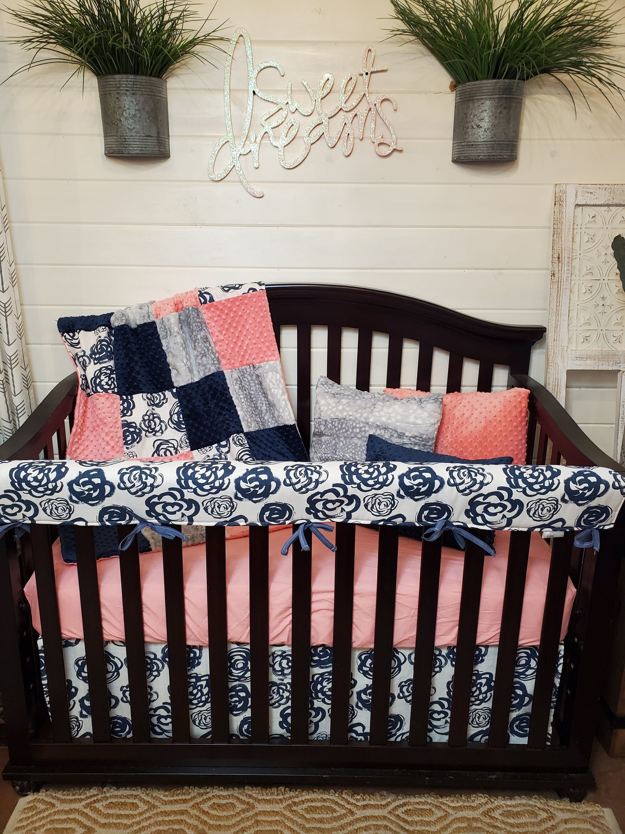 Ready to Ship Girl Crib Bedding- Floral and Silver Fawn Minky Collection