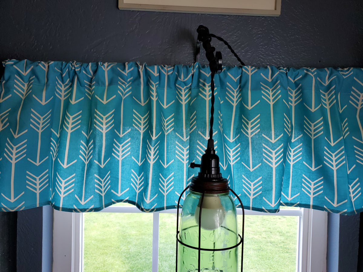 Curtain Panels or Valance - Arrow in Teal