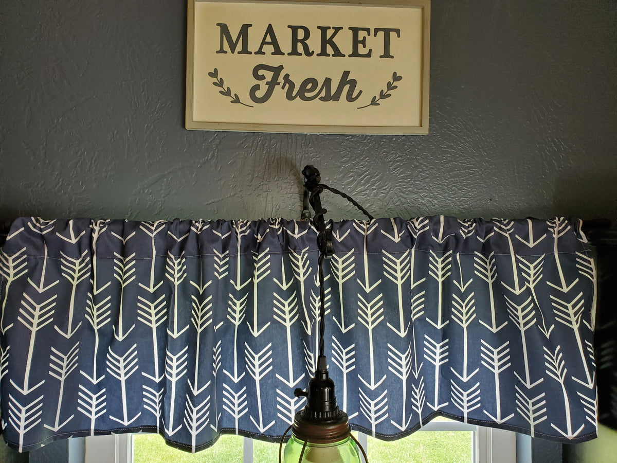 Curtain Panels or Valance - Arrow in Navy