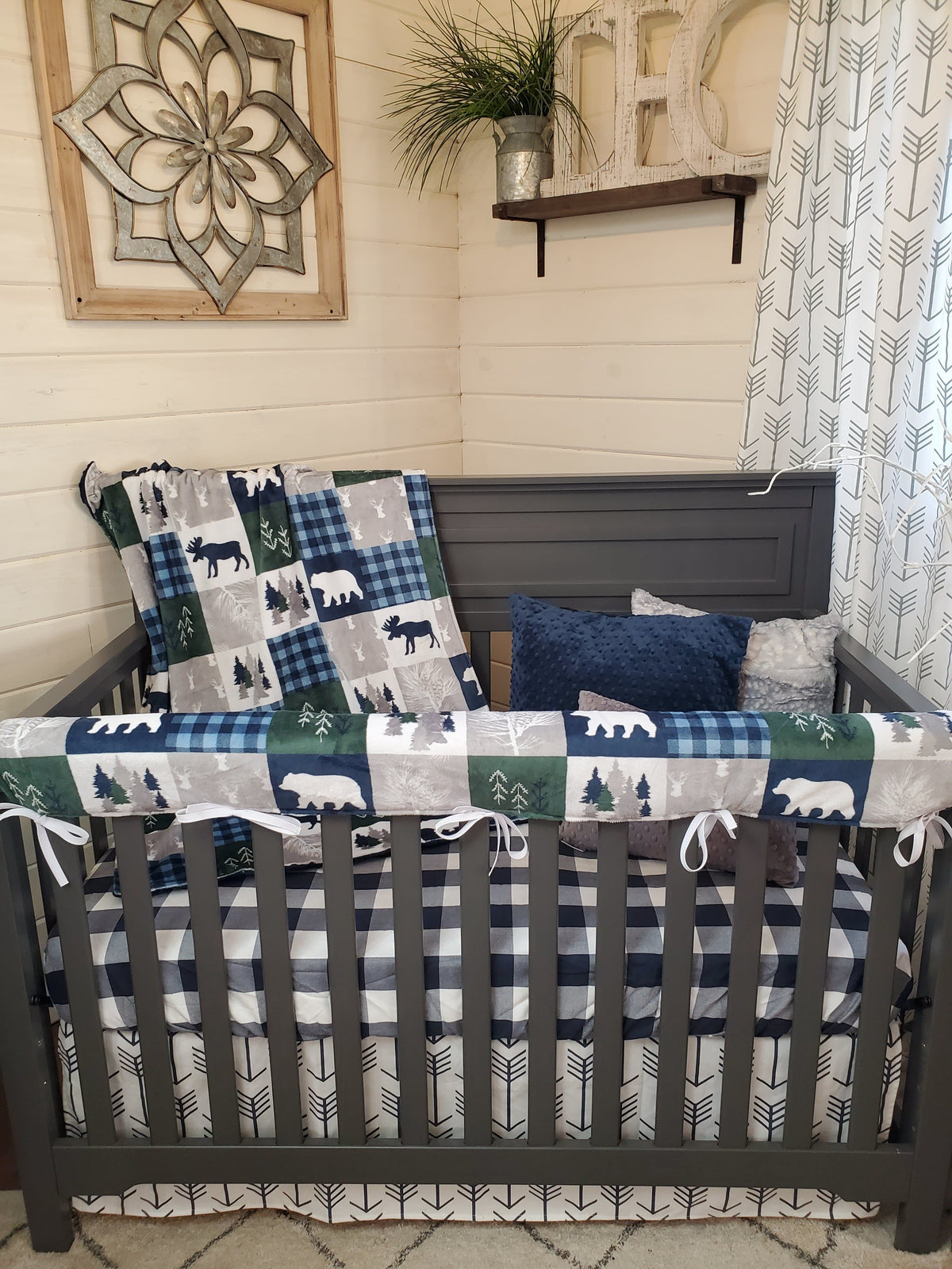 Quick Ship Boy Crib Bedding- Bear, Moose, Deer Woodland Collection