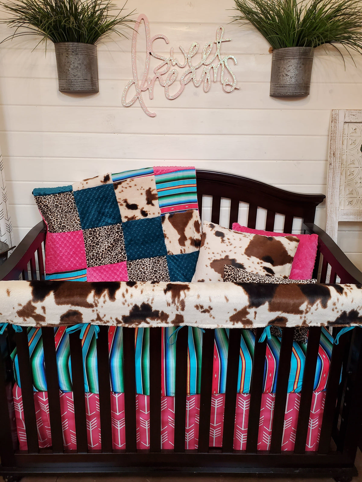 Ready to Ship Girl Crib Bedding- Serape, Cheetah, and Cow Minky Collection