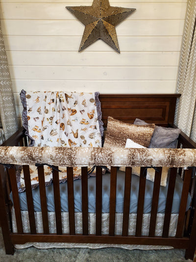 Ready to Ship Neutral Crib Bedding- Baby Woodland Animal Collection