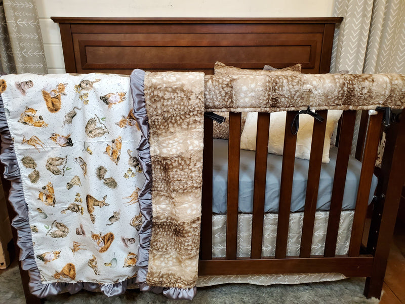 Ready to Ship Neutral Crib Bedding- Baby Woodland Animals Collection