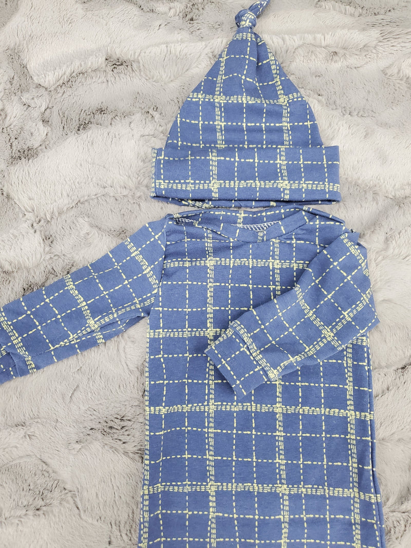 NEW DESIGNS- Baby Gown - Deep Sea Plaid Going Home Outfit