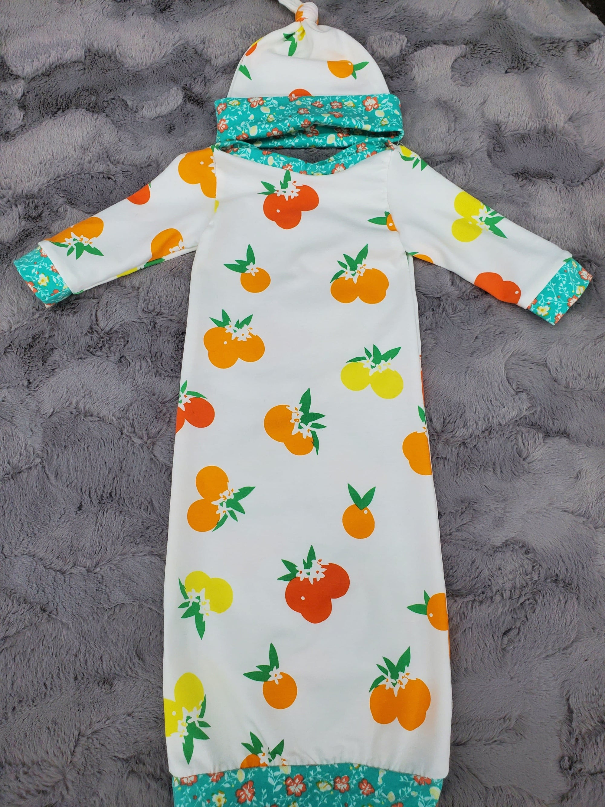 NEW DESIGNS- Baby Gown - Citrus with Mint Mini Hibiscus Going Home Outfit