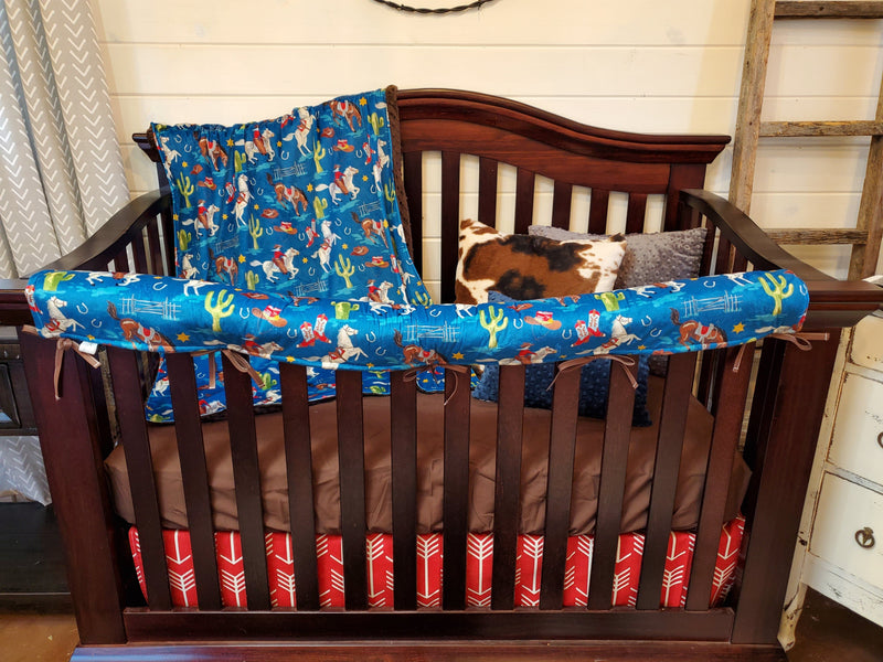 Ready to Ship Boy Crib Bedding- Cowboys and Cactus Collection