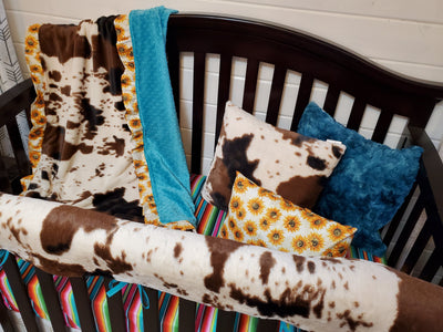 Ready to Ship Girl Crib Bedding- Sunflower and Serape Collection