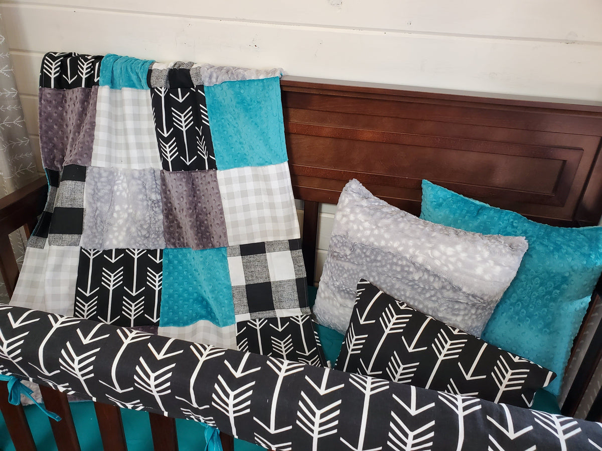 Ready to Ship Boy Crib Bedding- Teal and Black Check Collection