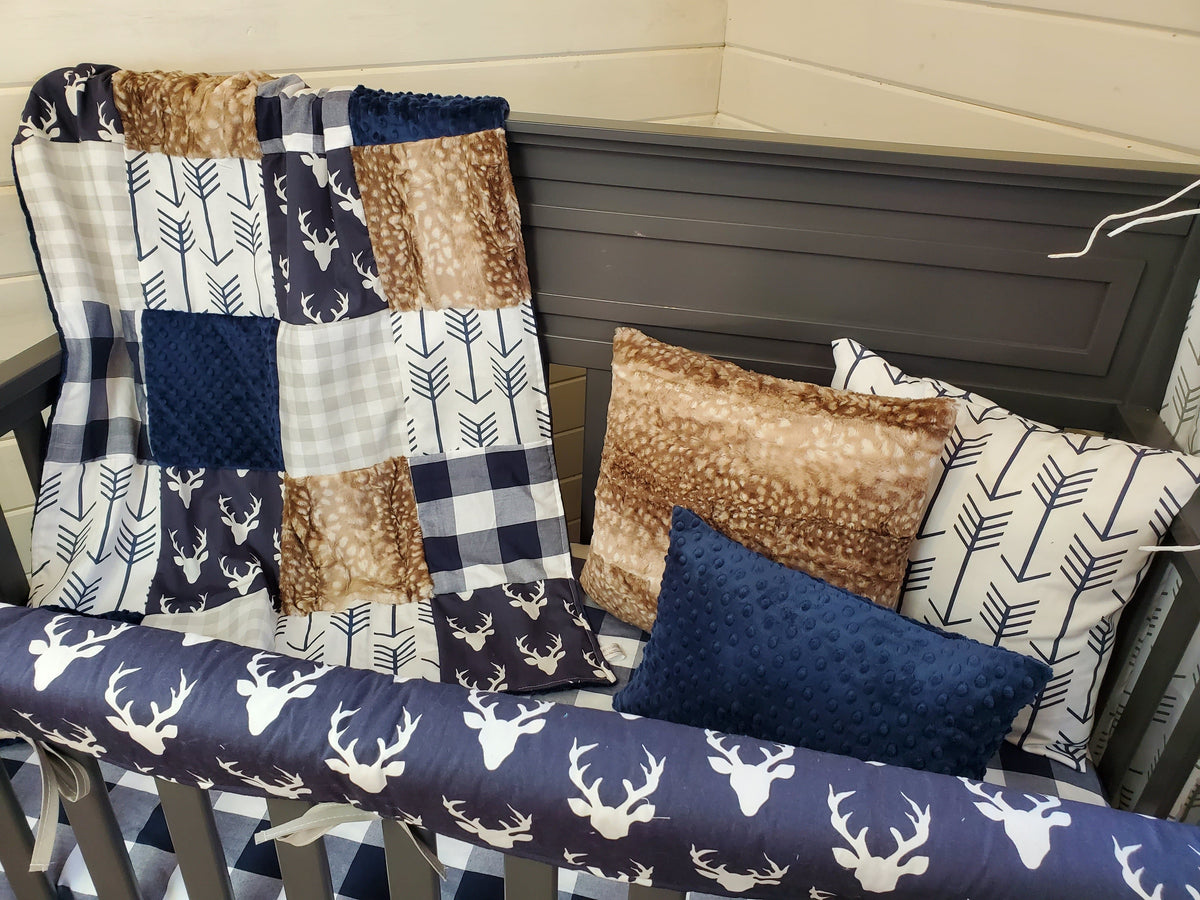 Ready to Ship Boy Crib Bedding- Buck and Check Woodland Collection