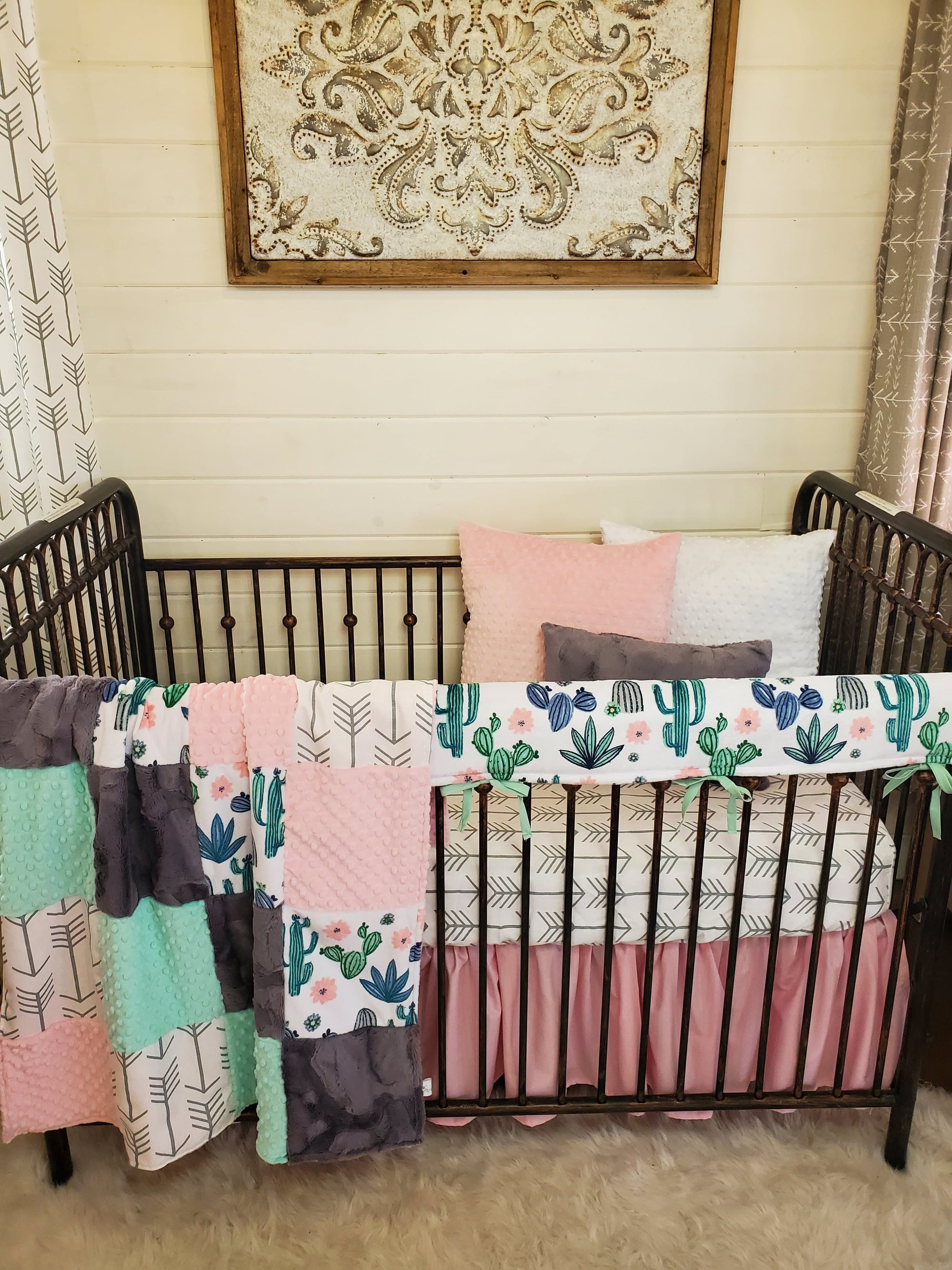 Ready to Ship Girl Crib Bedding- Cactus and Arrow Collection