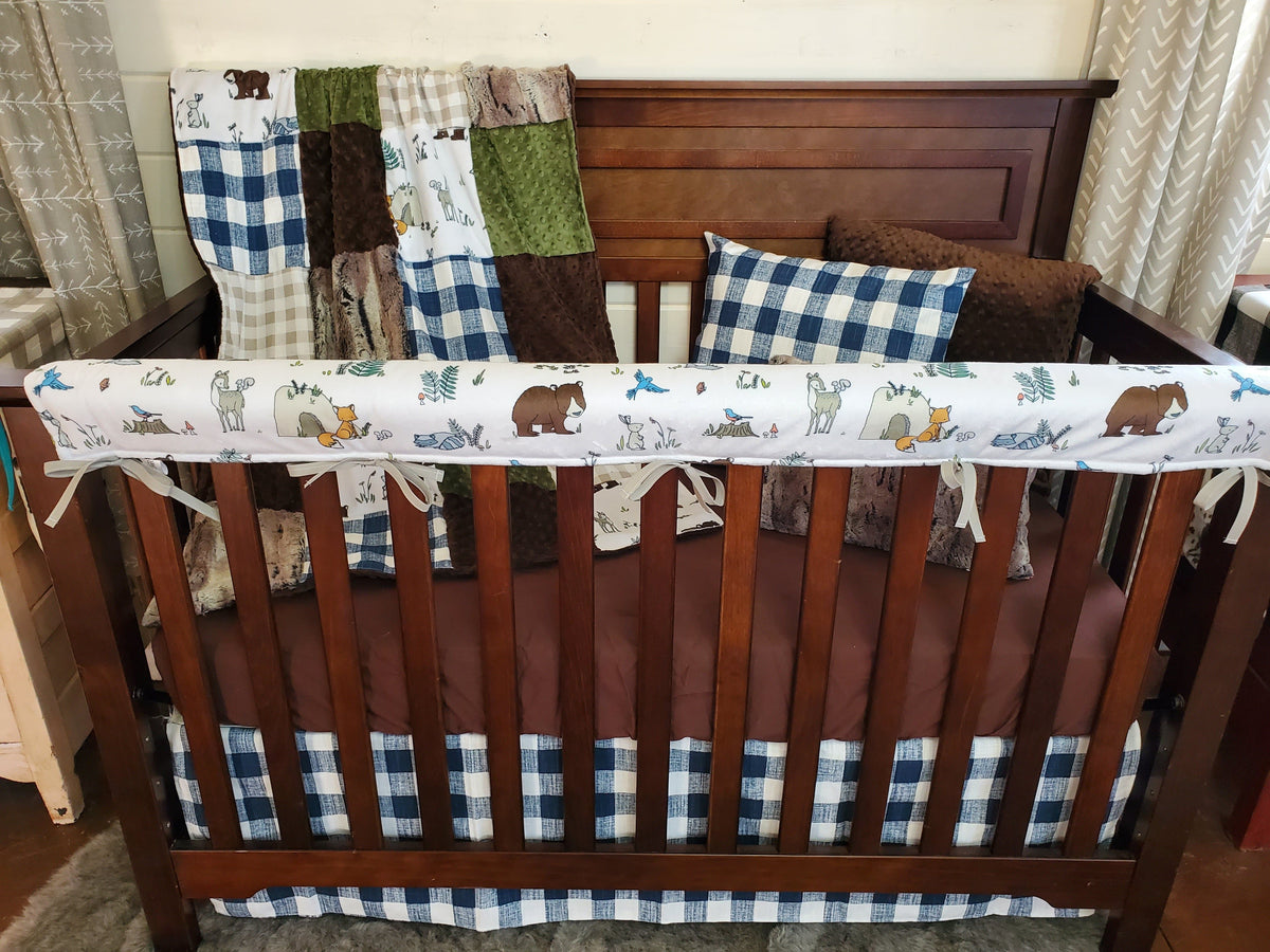 Ready to Ship Boy Crib Bedding- Woodland Animals and Check Collection