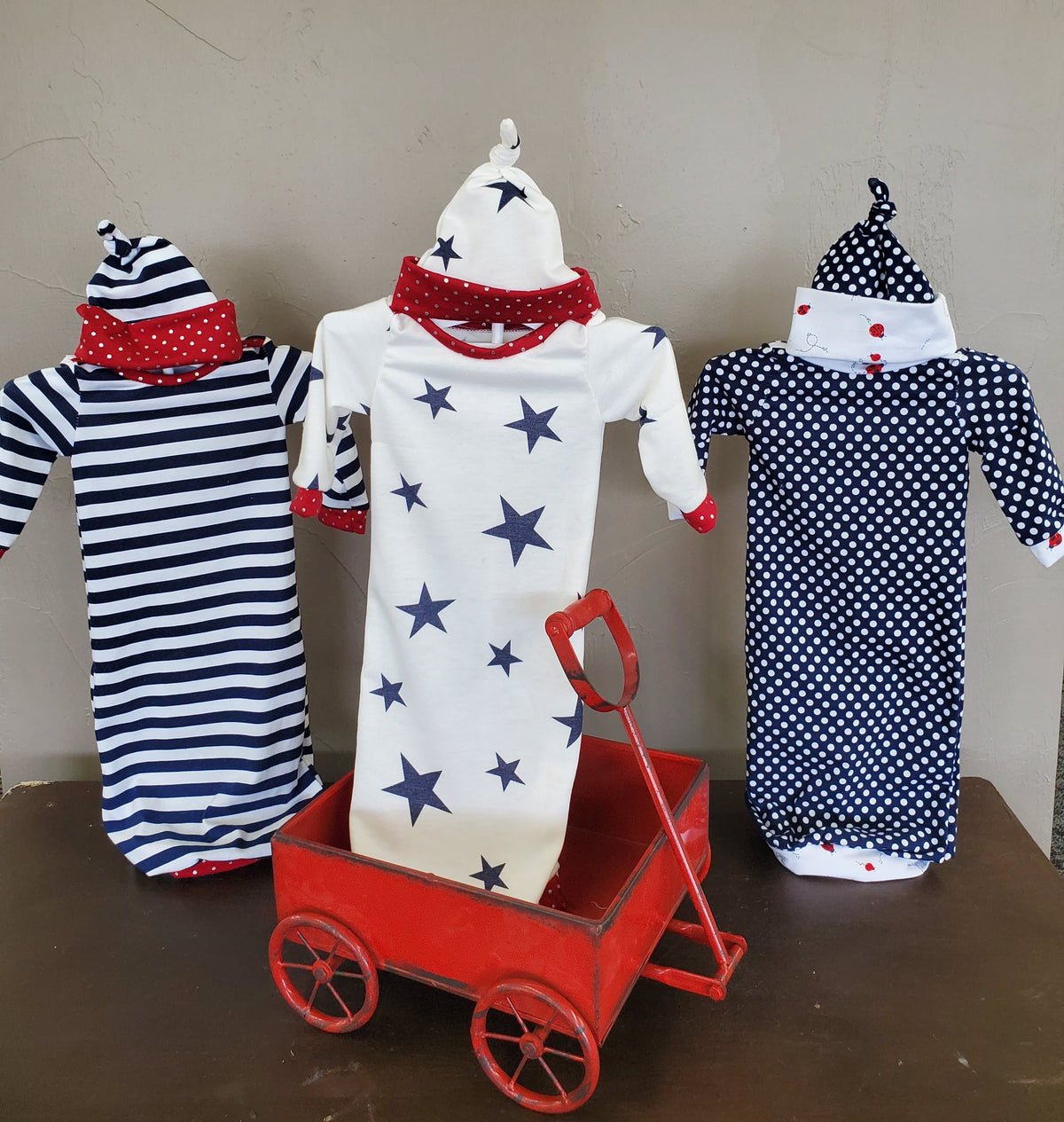 NEW DESIGN -Baby Gown - 4th of July Patriotic Going Home Gown Outfit