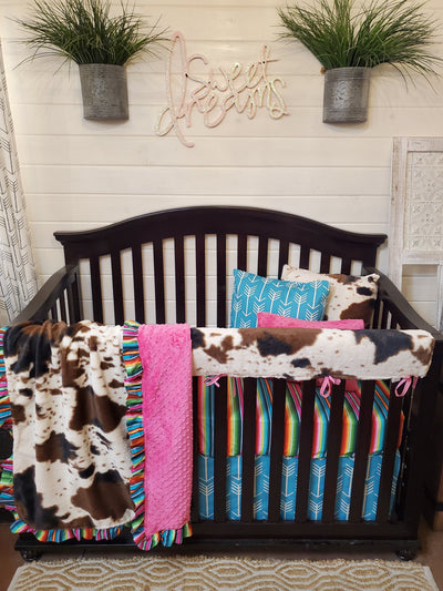 Ready to Ship Girl Crib Bedding- Serape and Cow Minky Collection