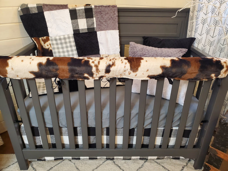 Ready to Ship Boy Crib Bedding- Black White Farm House Collection