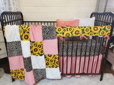 Ready to Ship Girl Crib Bedding- Sunflower and Cheetah Minky Collection