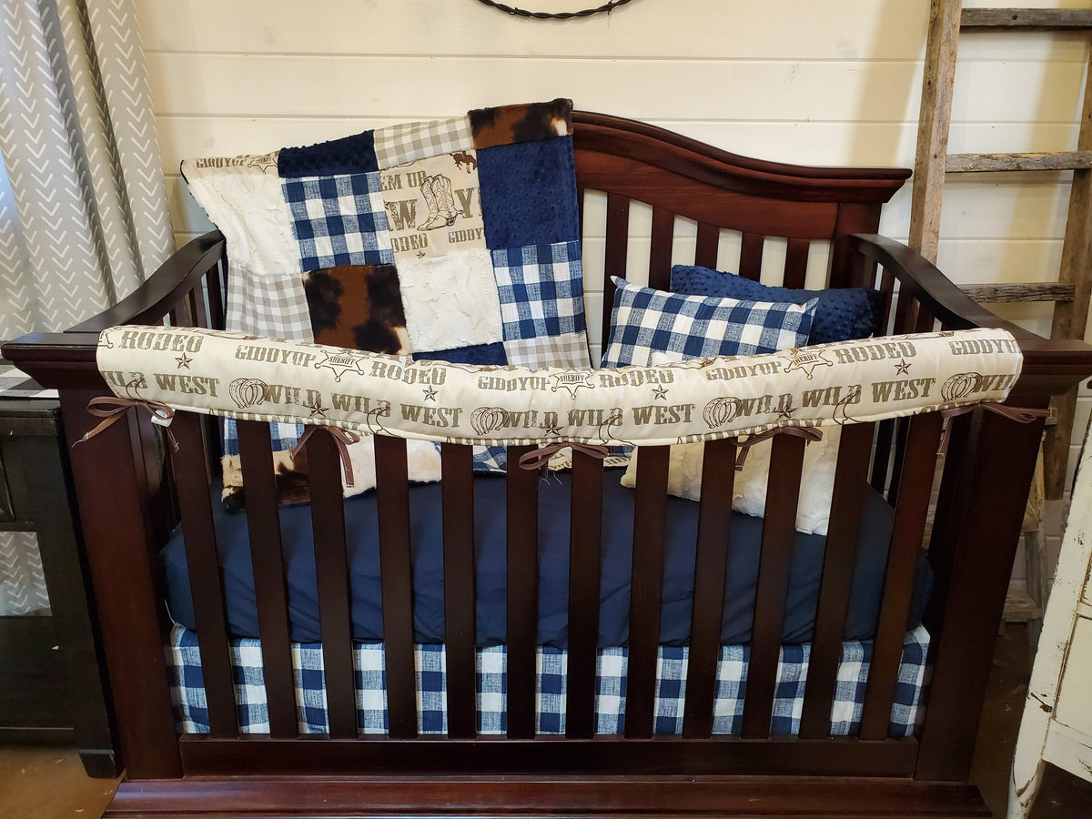 Ready to Ship Boy Crib Bedding- Cowboy and Denim Navy Check Collection