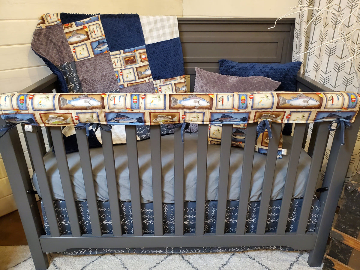 Ready to Ship Boy Crib Bedding- Fishing Collection