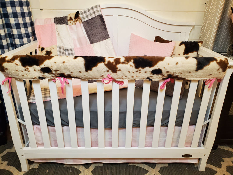 Ready to Ship Girl Crib Bedding- Farm House and Blush Check Collection