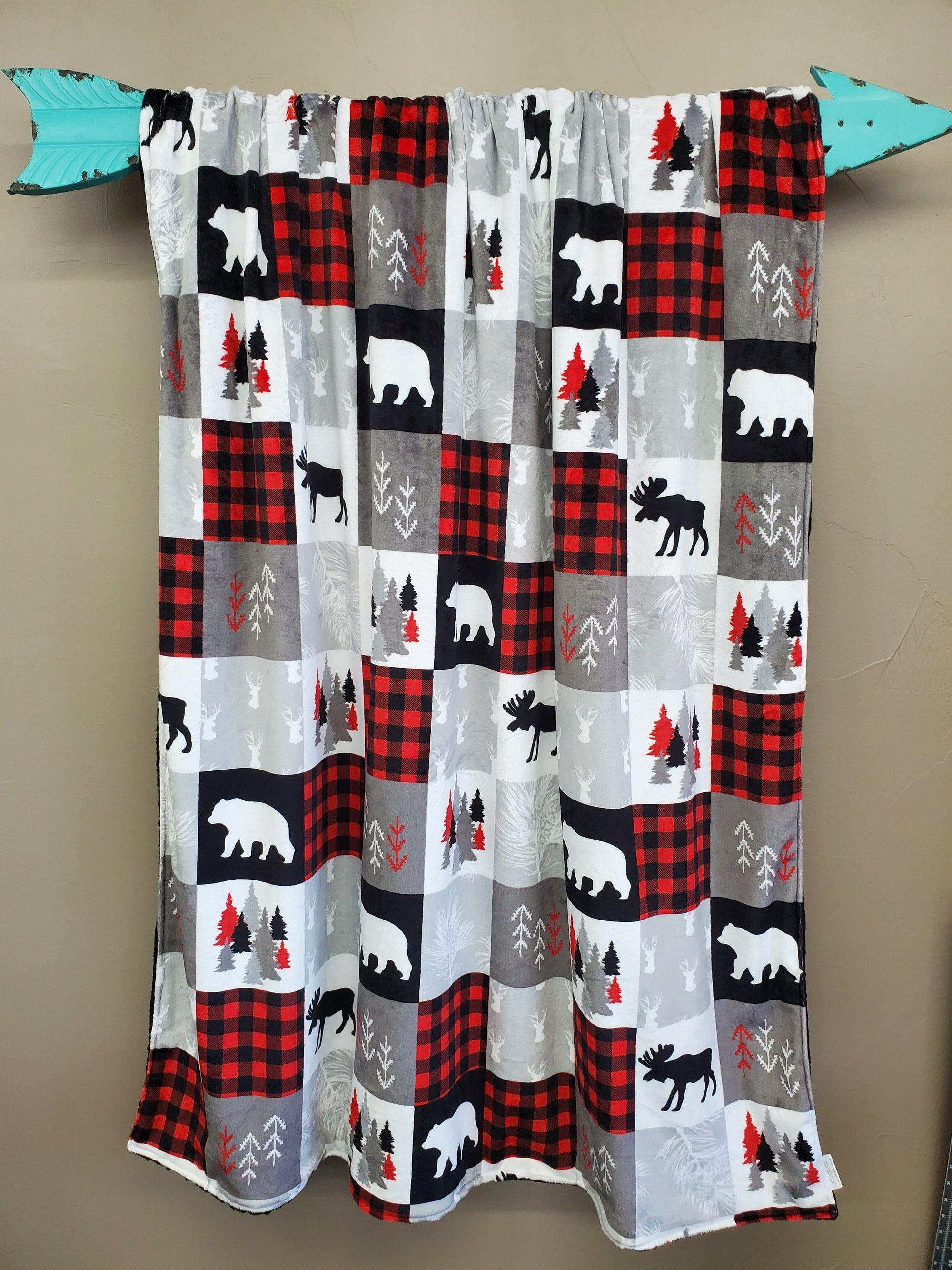 Twin, Full, or Queen Blanket - Patchwork Print Woodland Minky in Red, Black, Gray