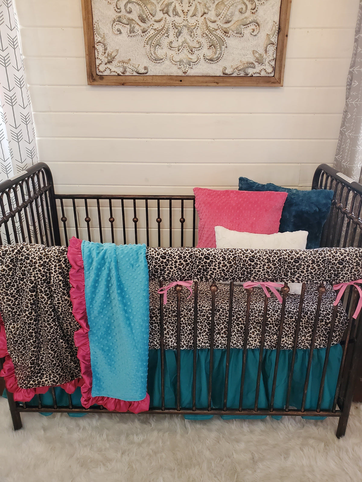 Ready to Ship Girl Crib Bedding- Serape and Cheetah Minky Collection