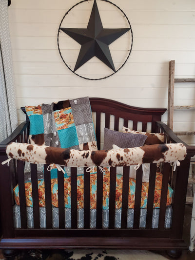 Ready to Ship Boy Crib Bedding- Mesa, Steer, and Cactus Collection