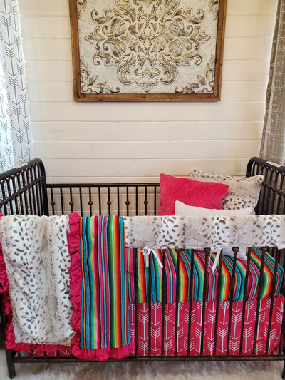 Ready to Ship Girl Crib Bedding- Serape and Lynx Minky Collection