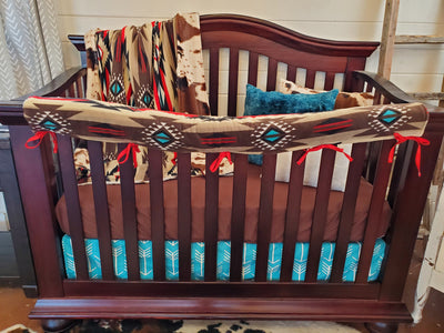 Ready to Ship Boy Crib Bedding- Brown Aztec Collection