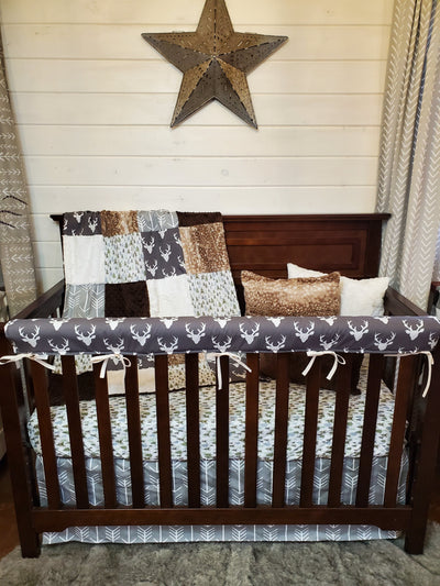 Ready to Ship Boy Crib Bedding- Buck and Pine Tree Collection