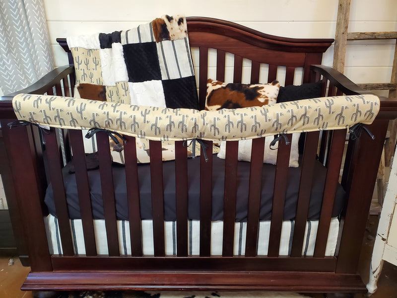 Ready to Ship Boy Crib Bedding- Camel Cactus and Farmhouse Stripe Collection
