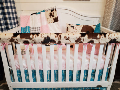 Ready to Ship Girl Crib Bedding- Blush Check and Teal Arrow Farmhouse Collection