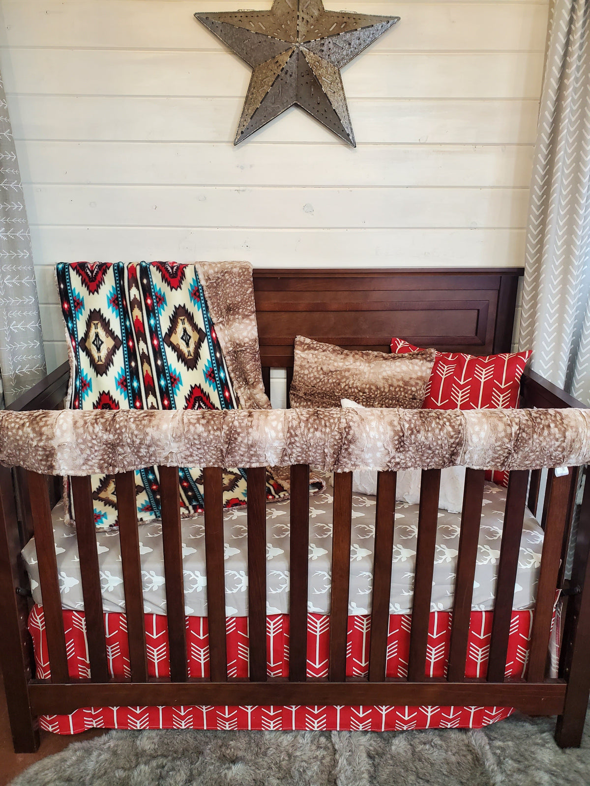 Ready to Ship Boy Crib Bedding- Buck, Aztec, Fawn Minky Collection