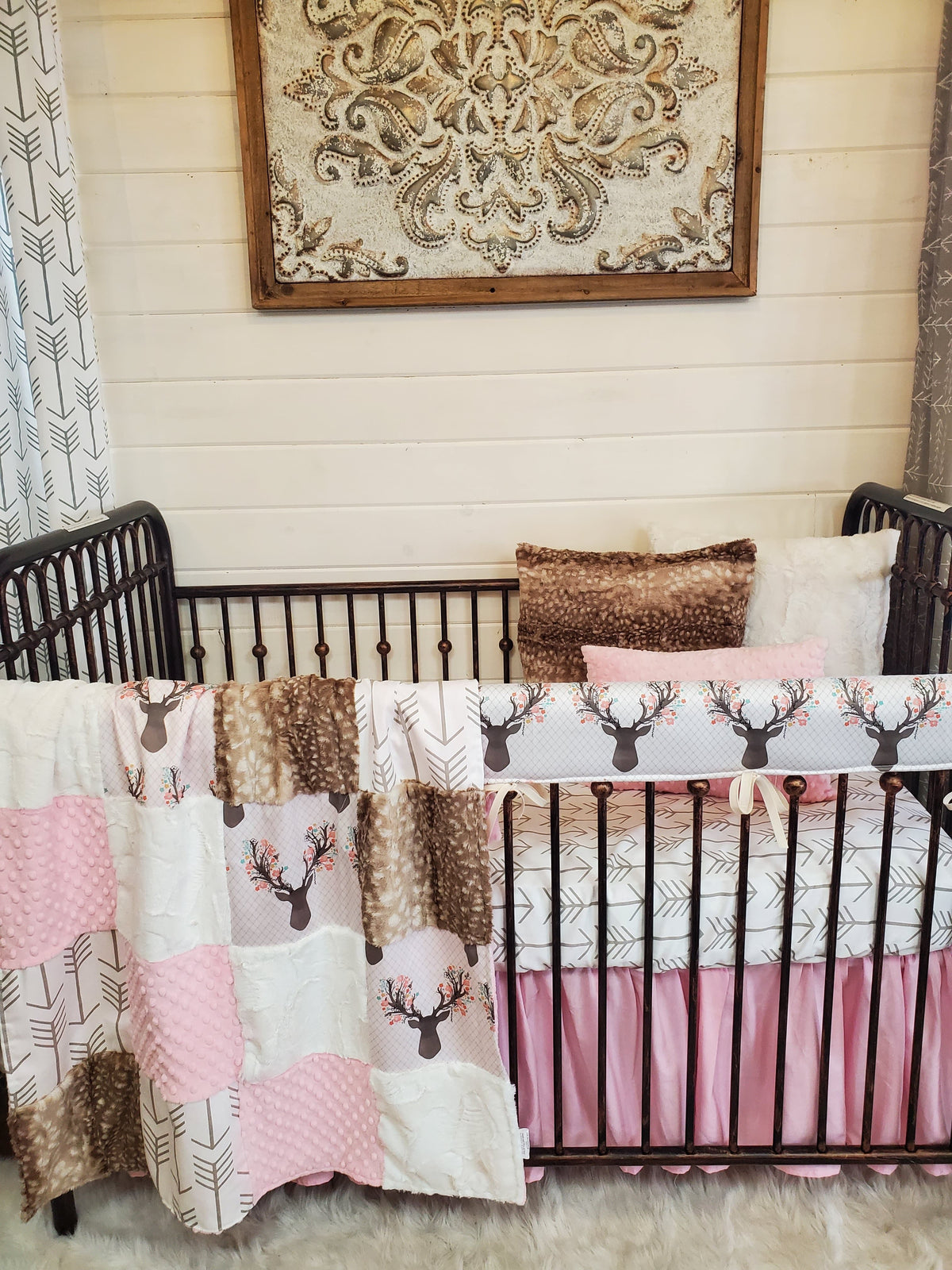 Custom Girl Crib Bedding- Tulip Fawn and Fawn Minky Woodland Collection