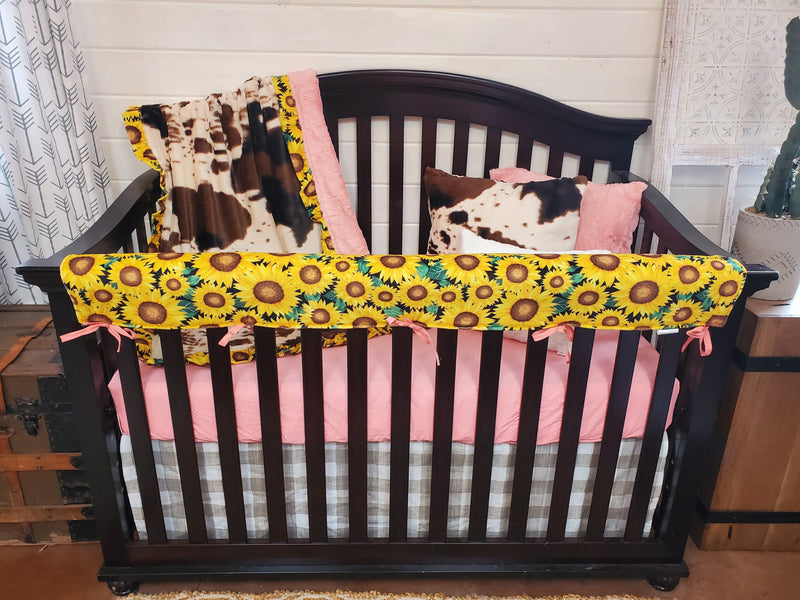 Ready to Ship Girl Crib Bedding- Sunflower Minky and Cow Minky Collection