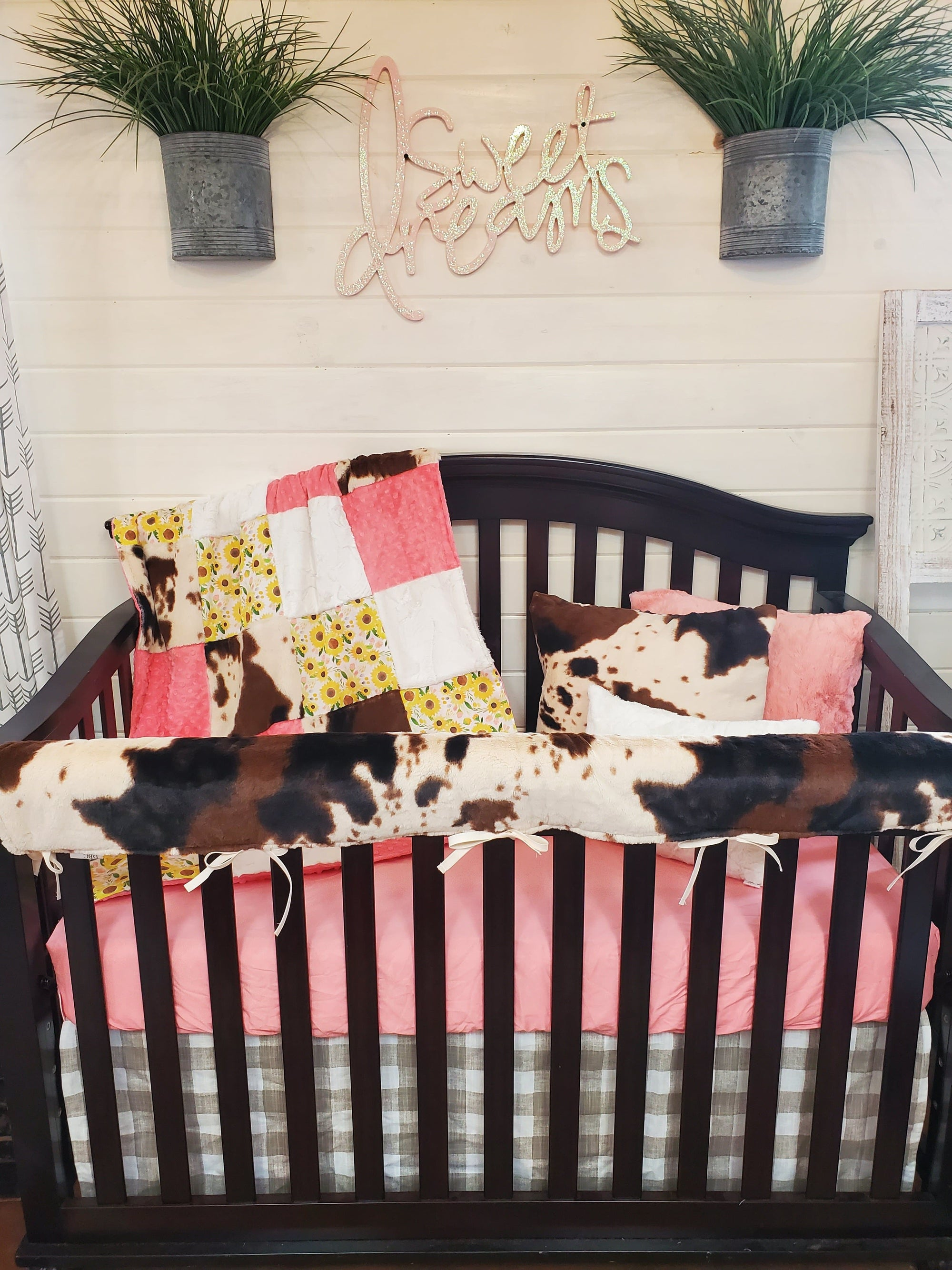 Custom Girl Crib Bedding- Small Sunflowers and Cow Minky Collection