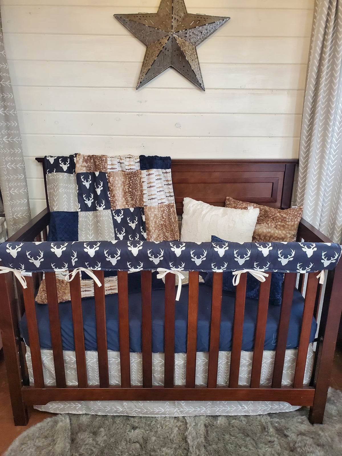 Ready to Ship Boy Crib Bedding- Buck and Fish Woodland Collection